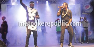 Chameleone and Bebe Cool on stage at the Sheraton Gardens.