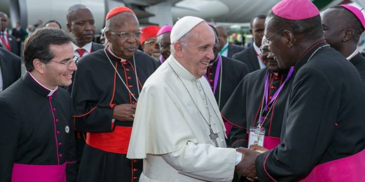 The Pope is welcomed by Kenyan bishops.