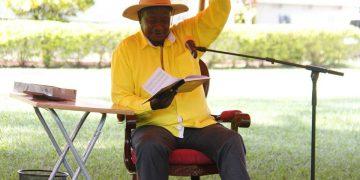 Museveni addresses the press in Arua.