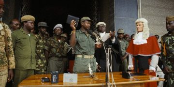 29 Jan 1986, Kampala, Uganda --- Yoweri Museveni has seized power. He commanded the National Resistance Army (NRA) in a rebellion against President Milton Obote and the military regime that succeeded him. He finally captured the capital city, Kampala, in January 1986.