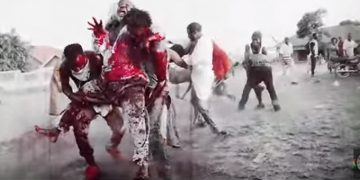 One of the bloody scenes from the video.