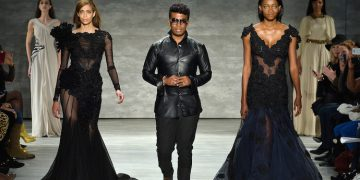 A model walks the runway at the David Tlale fashion show during Mercedes-Benz Fashion Week Fall 2014 at The Pavilion at Lincoln Center on February 9, 2014 in New York City.