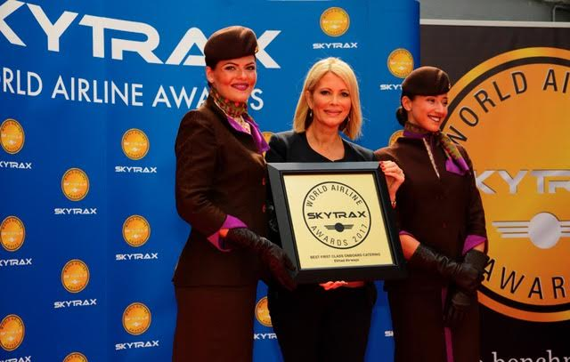 Photo Caption: Linda Celestino, Etihad Airways Vice President Guest Experience Delivery, receives the Skytrax World Airline Awards for World's Best First Class Airline, World's Best First Class Onboard Catering and World's Best First Class Airline Seat.