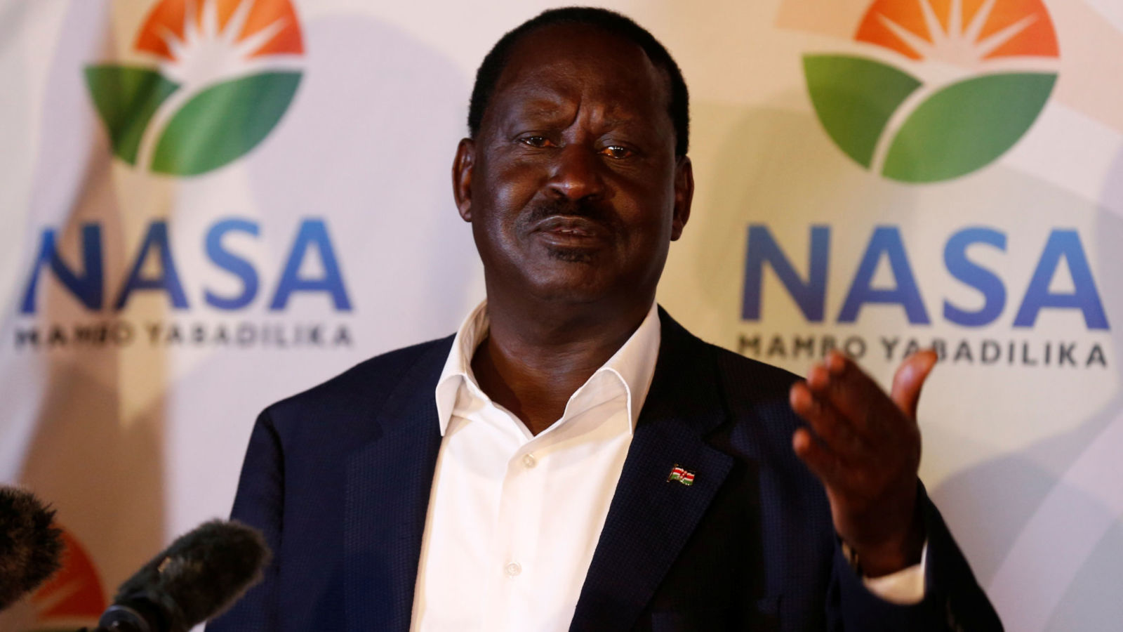 Kenyan opposition leader Raila Odinga, the presidential candidate of the National Super Alliance (NASA) coalition, address a news conference on the concluded presidential election in Nairobi, Kenya, August 9, 2017. REUTERS/Thomas Mukoya - RTS1AYOT