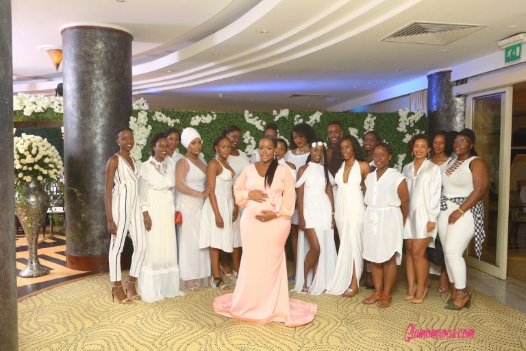 Nadia's friends wore white the the reveal party.
