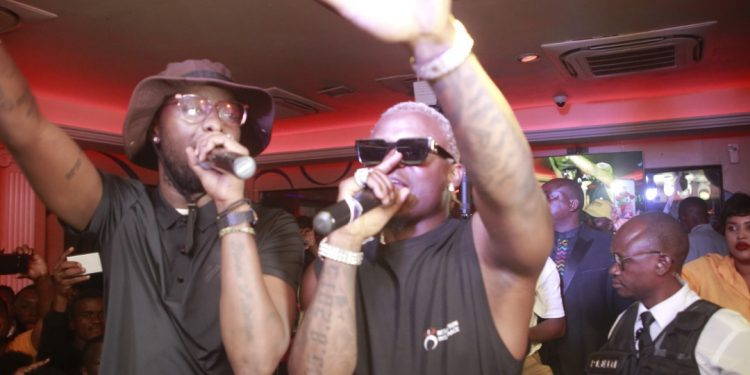Hormonize performing with Eddy Kenzo at Guvnor on Saturday. PHOTOS BY KALEMA EDWARD/Matooke Republic.
