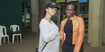 RnB sensation Mya with UBL's Head of Whisky Luxury Portfolio Annette Nakiyaga.