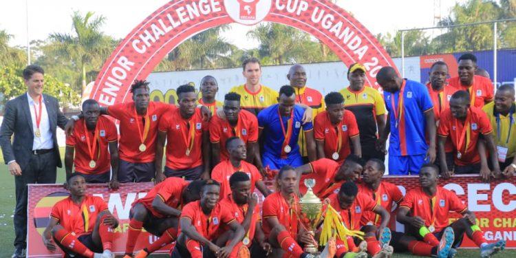 Uganda Cranes celebrating after lifting the CECAFA Senior Challenge Cup 2019. (PHOTO: FUFA).
