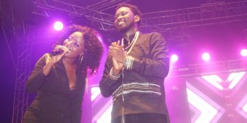 Levixone on stage with Lydia Jazmine. PHOTOS BY KASIGWA JOSEPH/Matooke Republic.