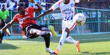 Vipers' Paul Willa clearing the ball. PHOTOS FROM SANYUKA TV.