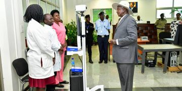 President Museveni being screened for Coronavirus in the VIP Lounge of Entebbe International Airport.