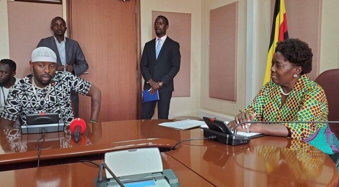 Eddy Kenzo with Speaker of Parliament Rt Hon Rebecca Kadaga.