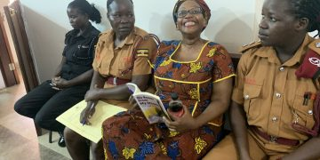 Dr Stella Nyanzi all looking jolly in court. COURTESY PHOTO.