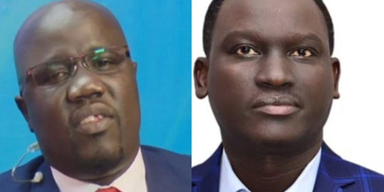 Charles Odongtho (L) handed in his resignation to Kin Kariisa (R), the CEO of Next Media Services, the parent company of NBS Television.