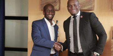 Uganda Breweries Limited (UBL) Alvin Mbugua and Vusi Thembekwayo pose for a photo. PHOTO BY KALEMA EDWARD/Matooke Republic.
