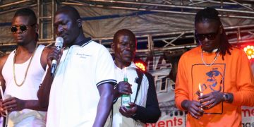 AK47's brothers Weasel and Pallaso at the tribute concert yesterday. PHOTOS BY KASIGWA JOSEPH/Matooke Republic.