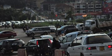 Traffic jam along Naalya roundabout on the Northern Bypass. PHOTOS BY NORMAN MWAMBAZI/Matooke Republic.
