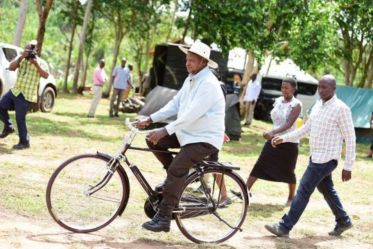 Leading by example: President Museveni on a bike. COURTESY PHOTO.