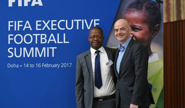 FUFA and FIFA Presidents Eng. Moses Magogo and Gianni Infantino respectively.