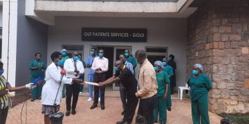 Patients receiving their discharge certificates at Mulago National Specialised Hospital. COURTESY PHOTO.