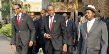 Presidents Paul Kagame of Rwanda, Uhuru Kenyatta of Kenya and Kaguta Museveni of Uganda.