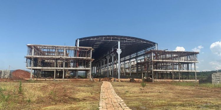 Construction at Kiira Motors Corporation is ongoing at Jinja Industrial and Business Park.  COURTESY PHOTOS.