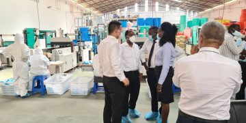 Investment Minister Evelyn Anite inspecting the factory. COURTESY PHOTOS/Evelyn Anite.
