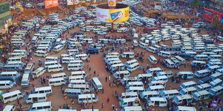 Taxis in the Old Taxi Park before renovations. PHOTO COURTESY OF KCCA.