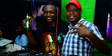 The DJs enjoying their Tusker beers recently. PHOTOS BY ASIIMWE VINCENT SMOKY/Matooke Republic.