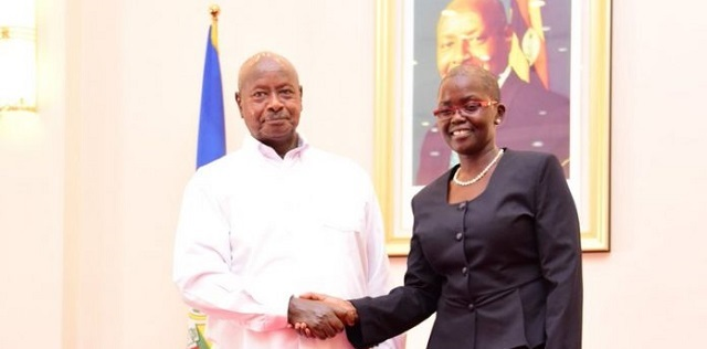 Justice Jane Francis Abodo with President Museveni.