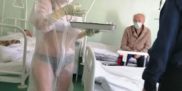 The nurse wore only lingerie in her PPE because of the heat. COURTESY PHOTO.