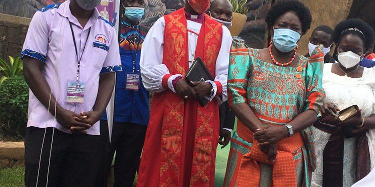 Speaker Kadaga and Archbishop Stephen Kazimba at Namugongo Martyrs Shrine this morning.