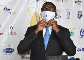 Katikkiro Chales Peter Mayiga launcing the facemask. PHOTO COURTESY OF BBS TEREFAYINA.