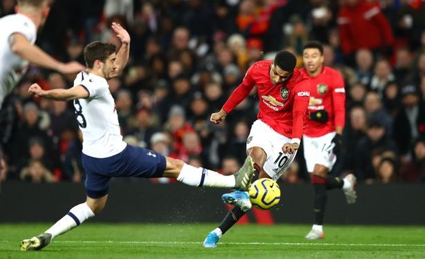 Manchester United forward Marcus Rashford taking a shot during their face-off with Tottenham Hotspurs in the first leg. COURTESY PHOTO.