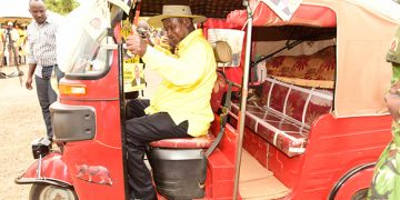 President Museveni rode in a tuku tuku in 2017.