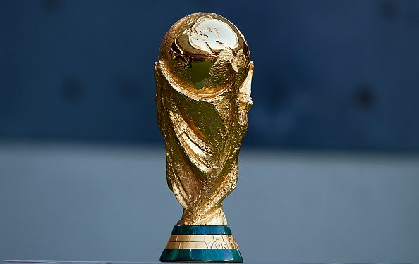 MADRID, SPAIN - AUGUST 25:  FIFA World Cup Trophy is seen prior to the La Liga match between Club Atletico de Madrid and Rayo Vallecano de Madrid at Wanda Metropolitano on August 25, 2018 in Madrid, Spain.  (Photo by Quality Sport Images/Getty Images)
